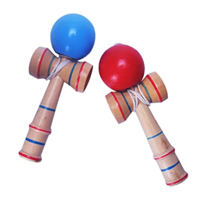 Fengirl 2pcs Kendama,Strengthens Hand-Eye Coordination, Balance, and Reflex (Red and Blue): Toys & Games