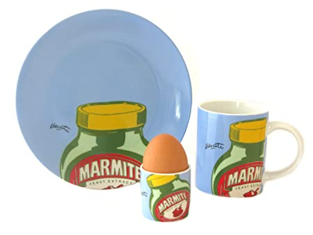 Marmite Mug, Plate & Egg Cup Light Blue Breakfast Set by ECP Design ...