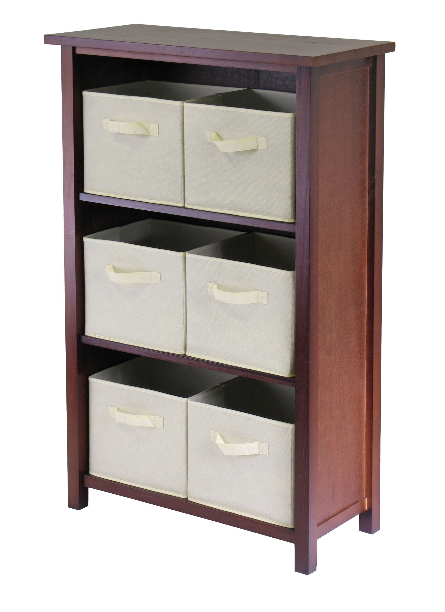 Winsome Wood Verona Wood 4 Tier Open Cabinet with 6 Beige Folding Fabric Baskets
