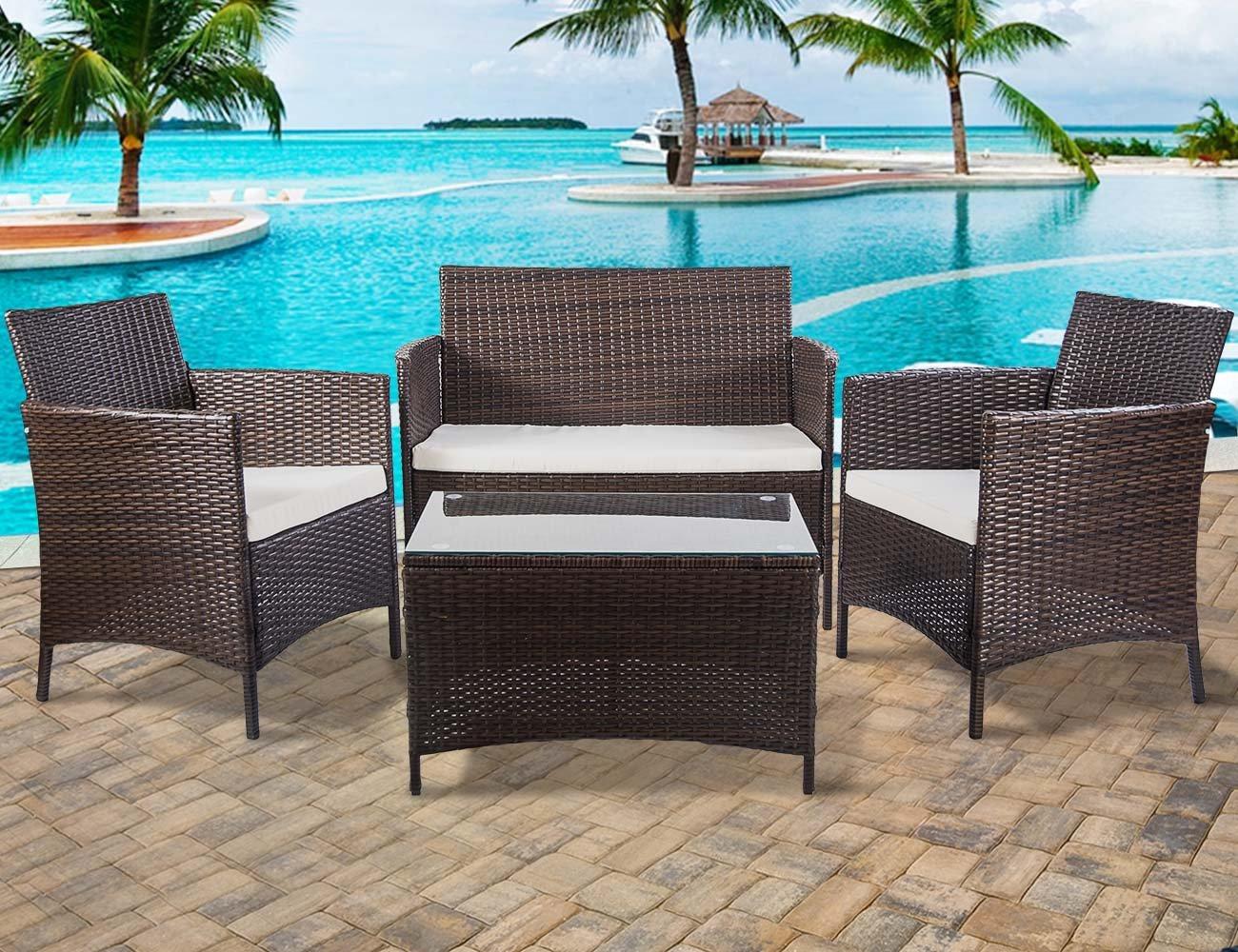 Merax 4 pcs Patio Furniture Set Outdoor Wicker Garden Furniture Set with Beige cushion (Brown)
