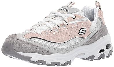 5e08dd157184 Skechers Women s D Lites Sneaker White Grey Pink ...