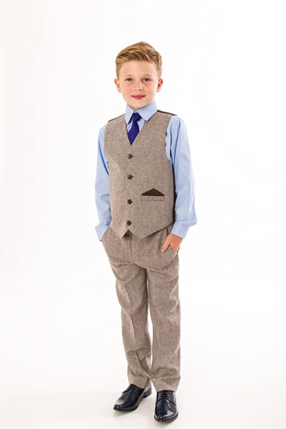 Vintage Style Children's Clothing: Girls, Boys, Baby, Toddler Vivaki Boys Tweed Suit 4 Piece Boys Wedding Page Boy Party Outfit 0/3 Months To 12 Years £25.99 AT vintagedancer.com