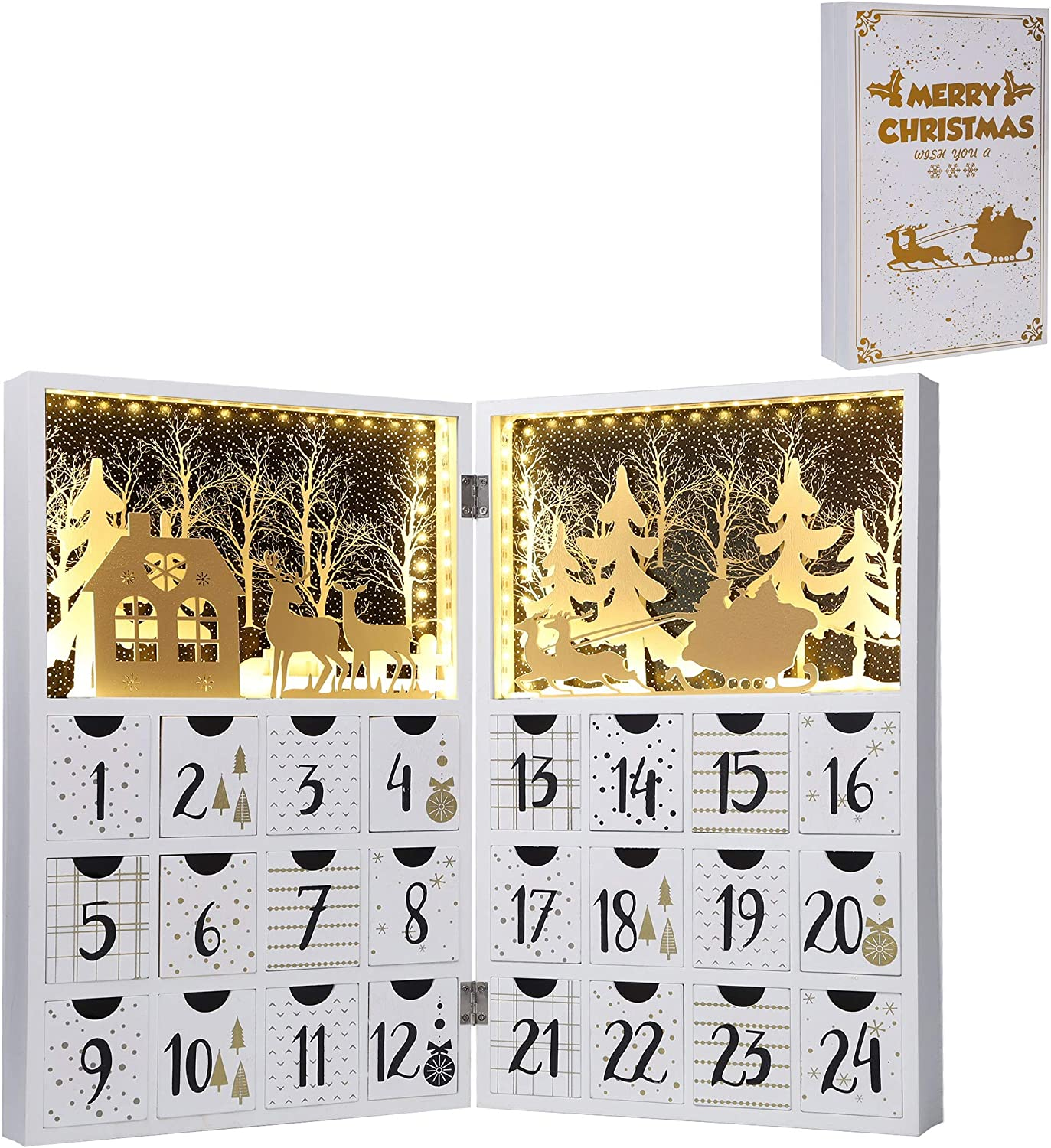 Juegoal Pre Lit White Advent Calendar Wooden Lighted Christmas Book, Premium Hand Painted Christmas 24 Drawers Countdown to Christmas, Refillable Wooden Advent, Cute Holiday Decoration