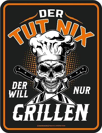 Image of Rahmenlos - Cartel decorativo de chapa para el fan de la barbacoa: Der TUT nix - Der Will nur Grill.