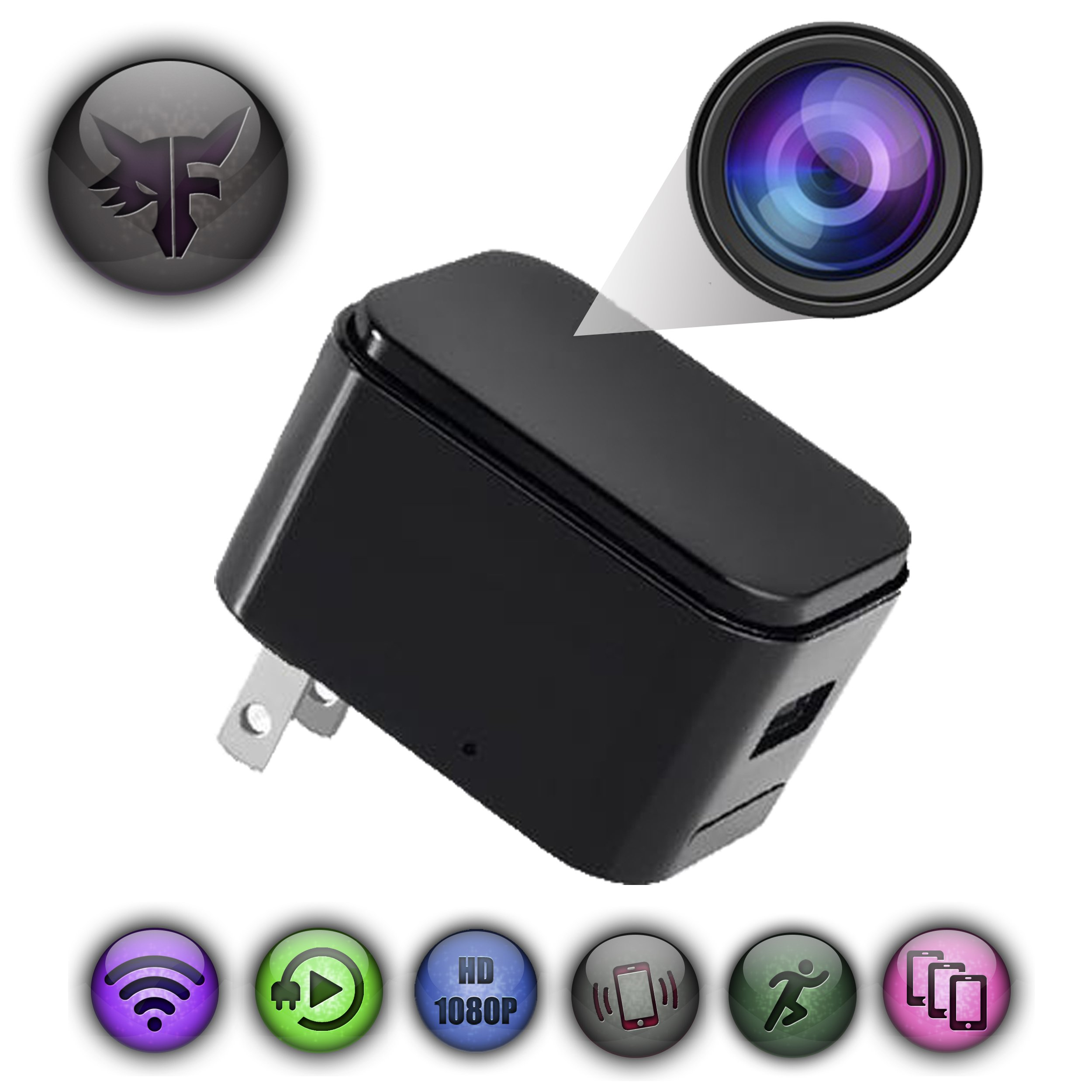WiFi Hidden Camera - Phone Charger - Spy Camera - Wide Angle - Motion Detection - Push Notification - Surveillance - Security - Theft Protection - HD 1080P - USB Nanny Cam - Baby Monitor