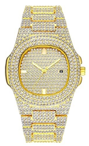 Men s Fashion Iced-Out Silver Gold Watch, Luxury Quartz Analog Bling-ed Out Crystal Watch with Stainless Steel Bracelet Strap