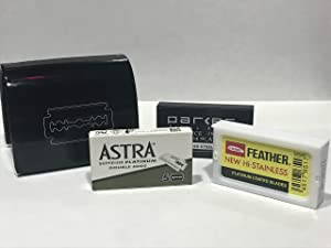Razor Blade Bank, Black and Sample Razor Blades : 5 Astra, 5 Parker, and 5 Feather