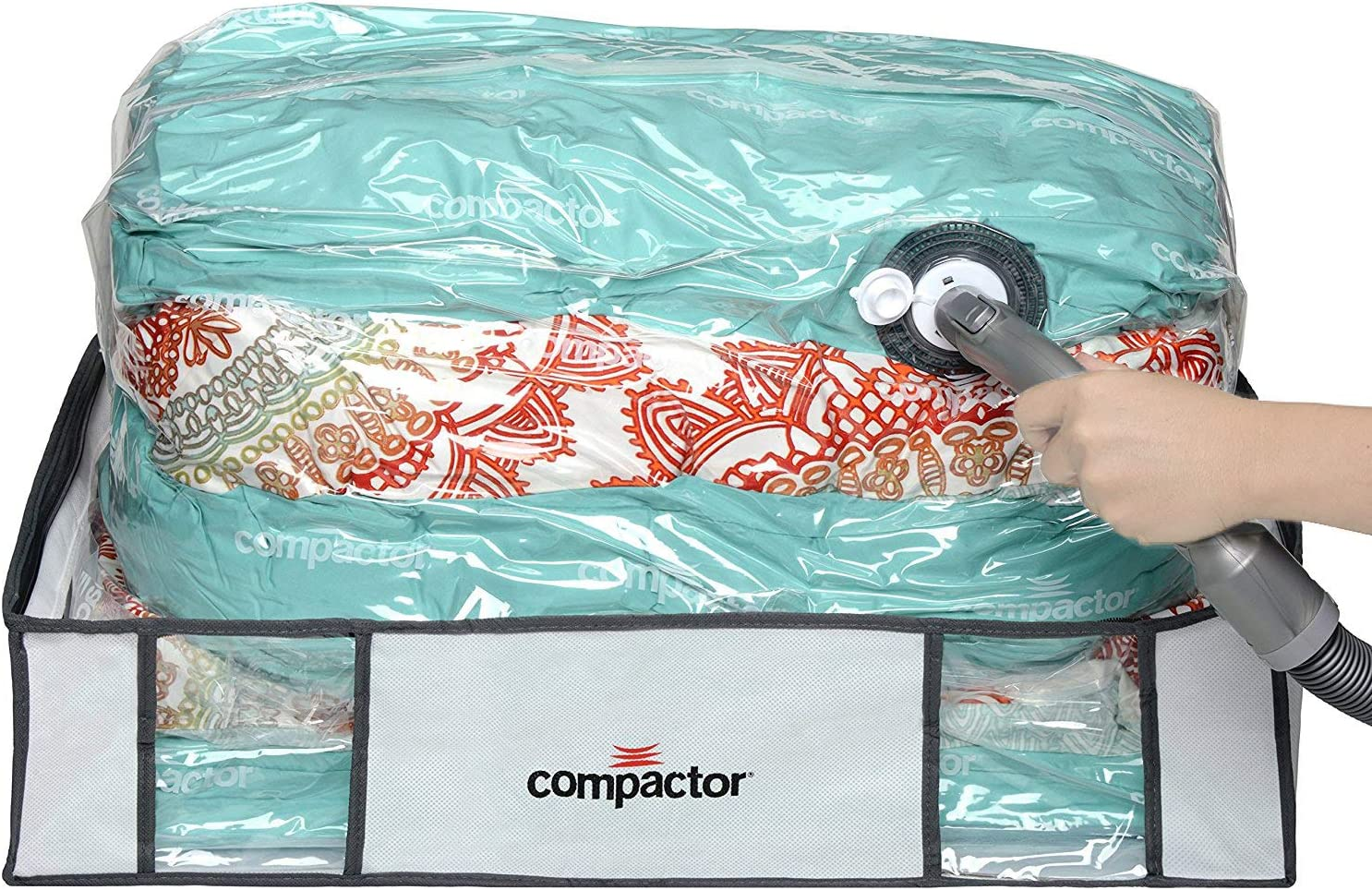 """Compactor Space Saver Vacuum Storage Solution Vacuum Bag to Protect Clothes, Pillows, Duvets, Comforters, Blankets (L (26""""x20""""x6""""), Classic White)"""
