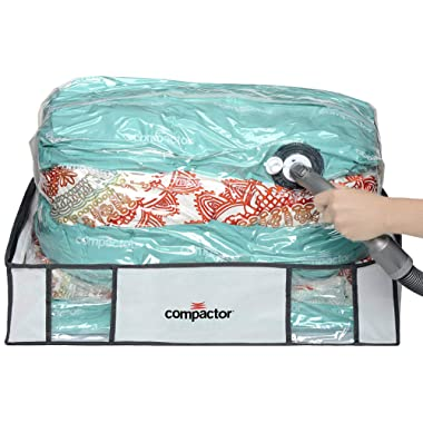 Compactor Space Saver Vacuum Storage Solution Vacuum Bag to Protect Clothes, Pillows, Duvets, Comforters, Blankets (L (26 x20 x6 ), Classic White)