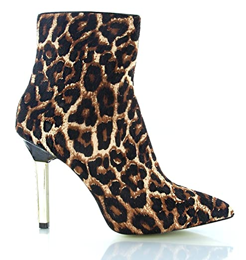 Sonja Boots Printed Haircalf Leather Ankle Boots Size 5