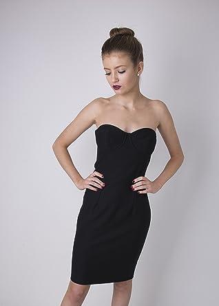Topshop Black Strapless Bodycon Dress (6)