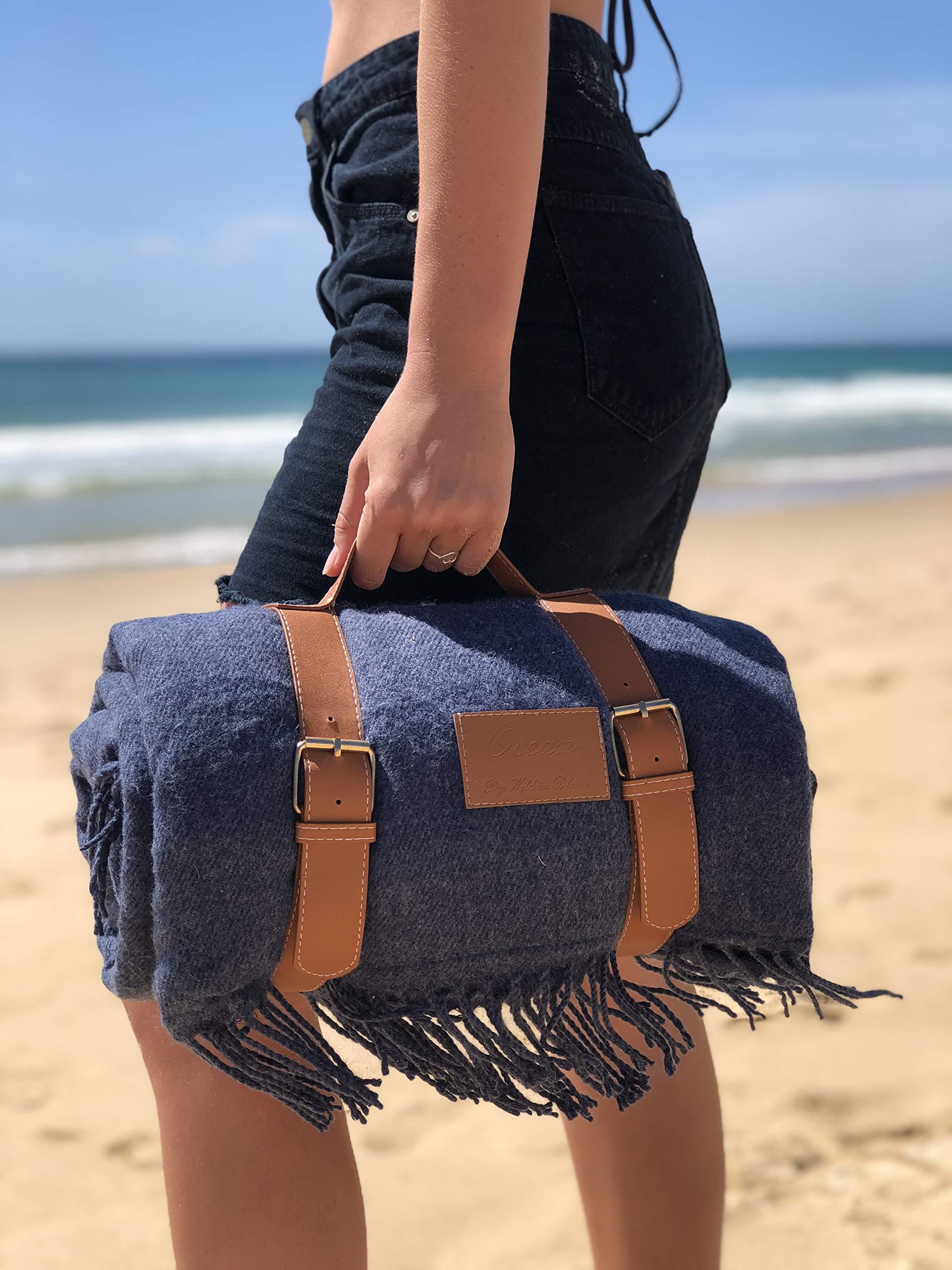 Wild in Bloom, Beach Blanket, Oversized Beach Blanket, Picnic Blanket, Extra Large Picnic Mat, Waterproof, Outdoor Blanket, Gift Box (Blue)