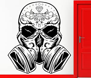 Wall Sticker Vinyl Decal Hippien Skull In Gas Mask Scary Cool Teen Decor For Bedroom (z2402)