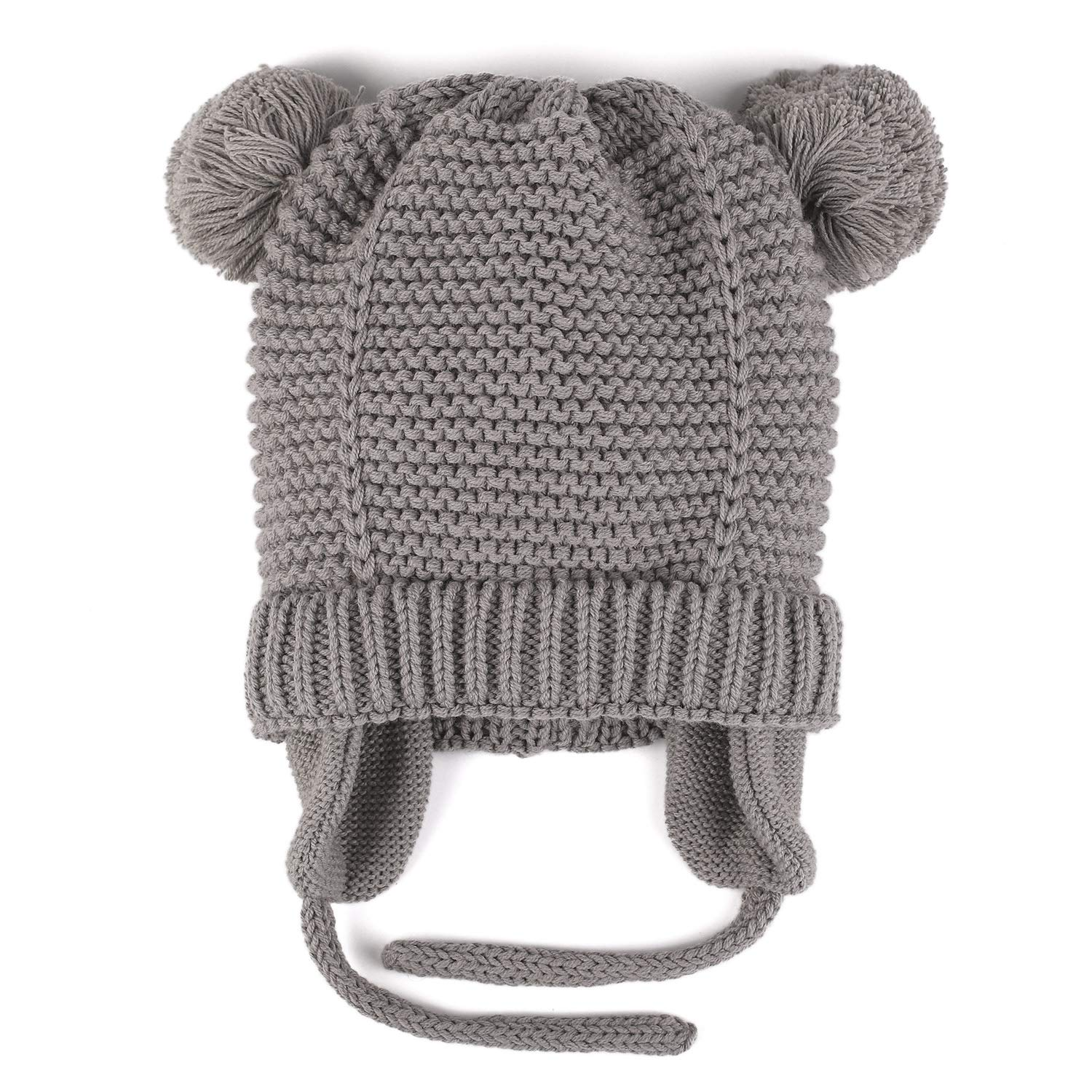 013336bc Amazon.com: Flammi Knit Earflap Hat Velvet Lined Warm Beanie with ...