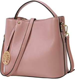 ec0180a5c56a Iswee Women s Genuine Leather Bucket Bag Small Tote Purse Top Handle  Handbag Crossbody Shoulder Bag Messenger