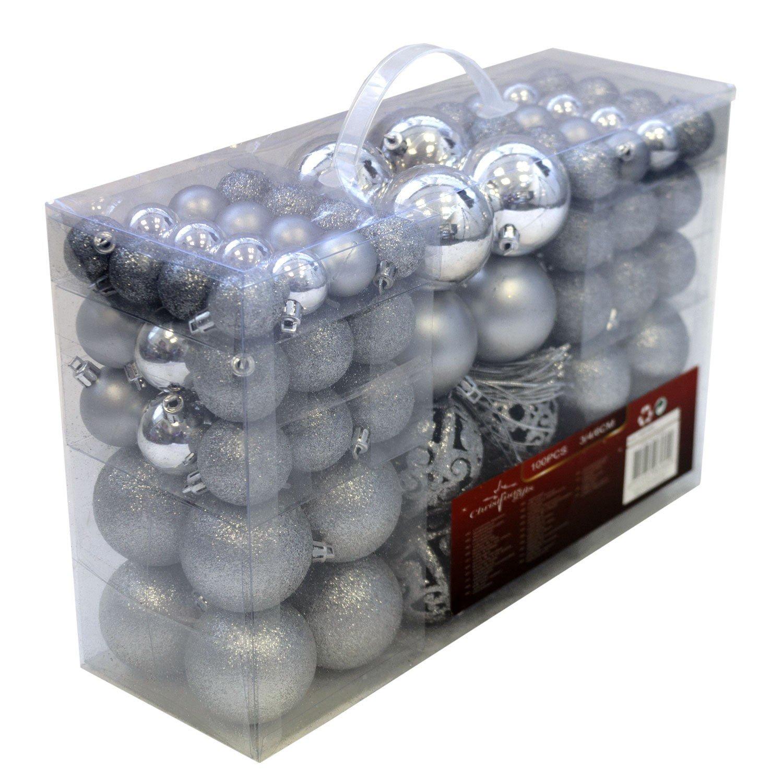 Lote de 100 bolas de Navidad plateadas por solo 19,99€
