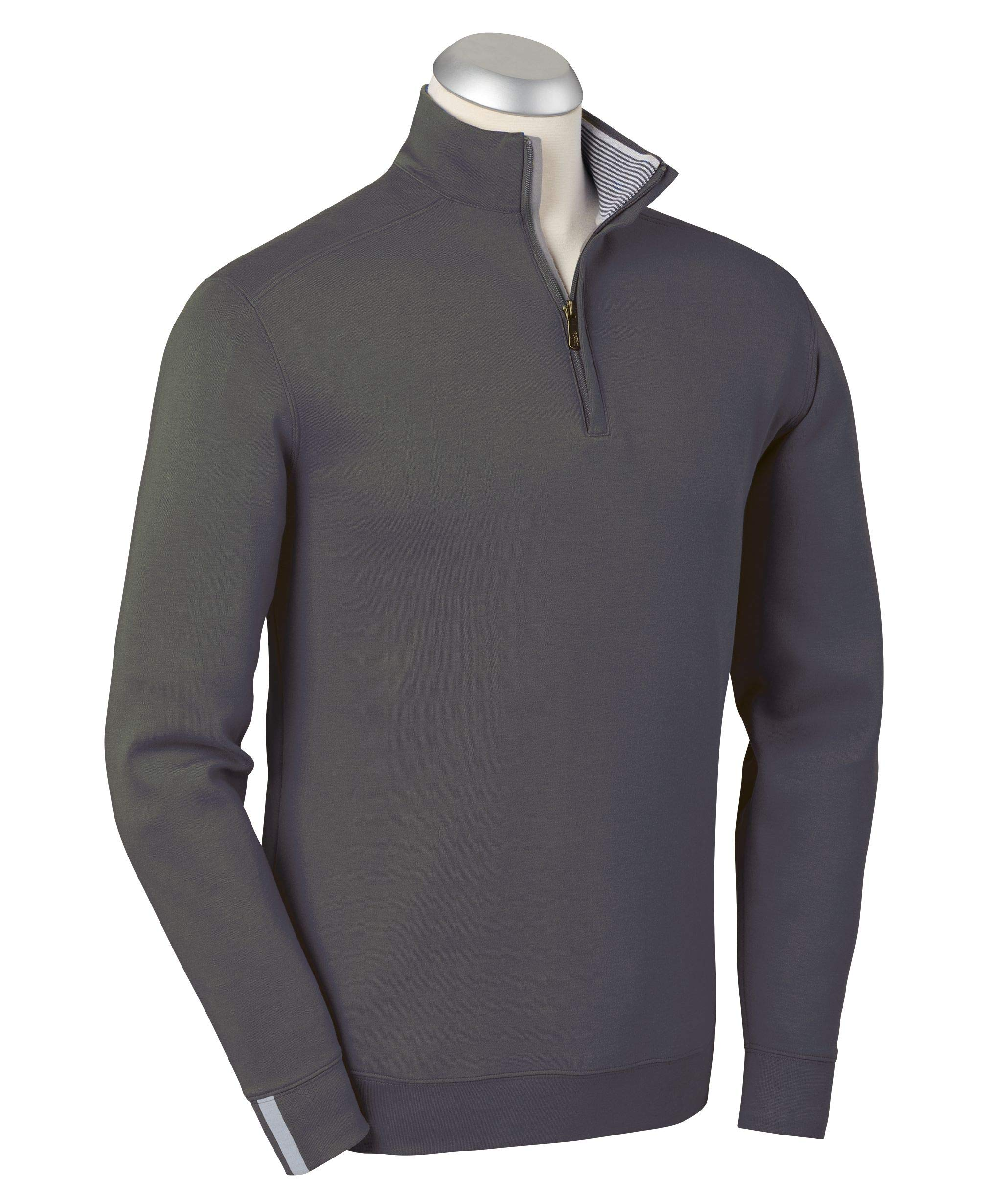 Bobby Jones Lux Pima Leaderboard Golf Pullover - Men's 1/4 Zip Pullover Golf Apparel Charcoal Heather by Bobby Jones