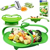 "Premium Silicone Vegetable Steamer Basket - Green - 8"" - Kitchen Bundle - Heat Resistant Silicon - Bonus 3 in 1 Julienne Veg Peeler & Food eBook"