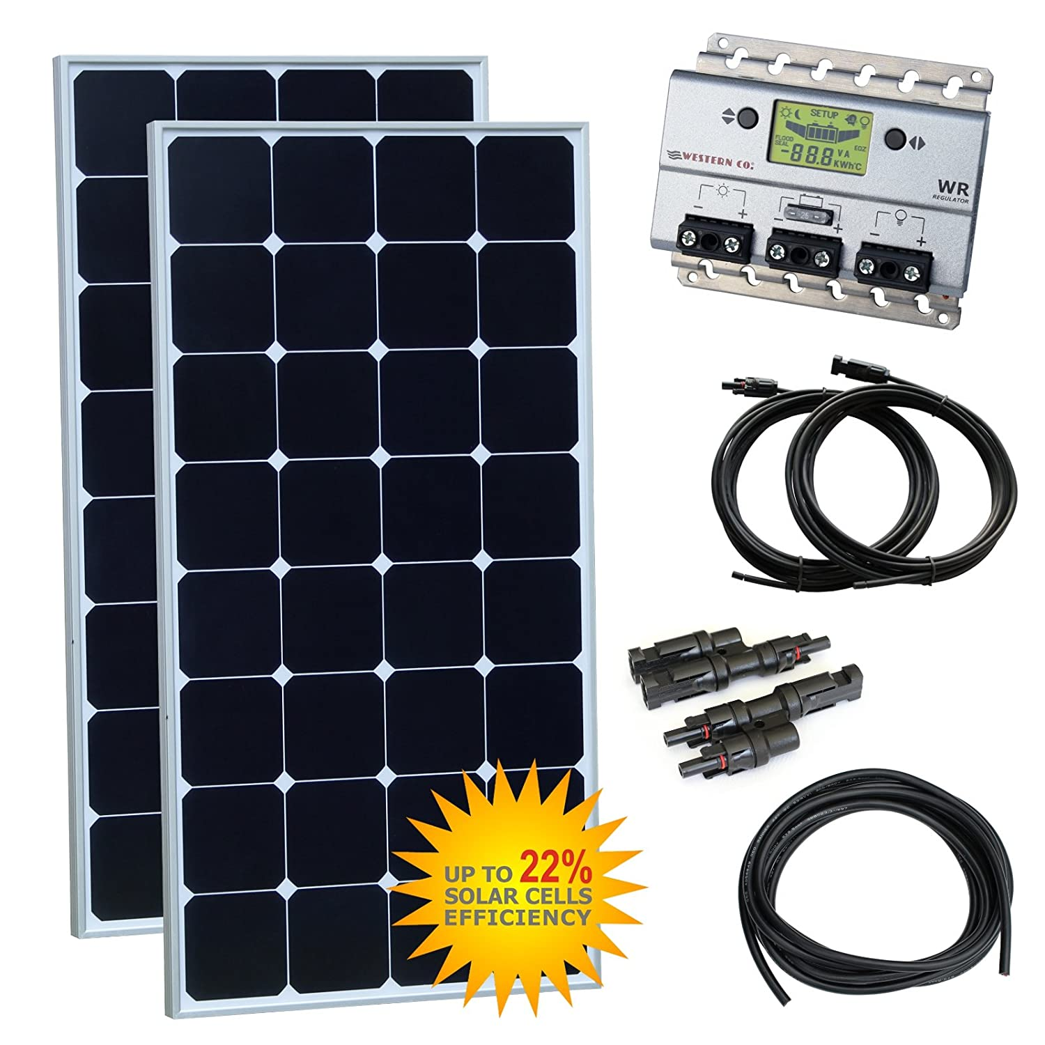 with 20A charge controller and 5m cable 250W 12V Photonic Universe dual battery solar charging kit made of German solar cells