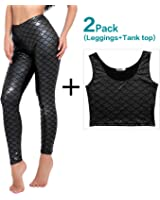 Diamond keep it Women's Mermaid Fish Scale Printing Full Length Leggings