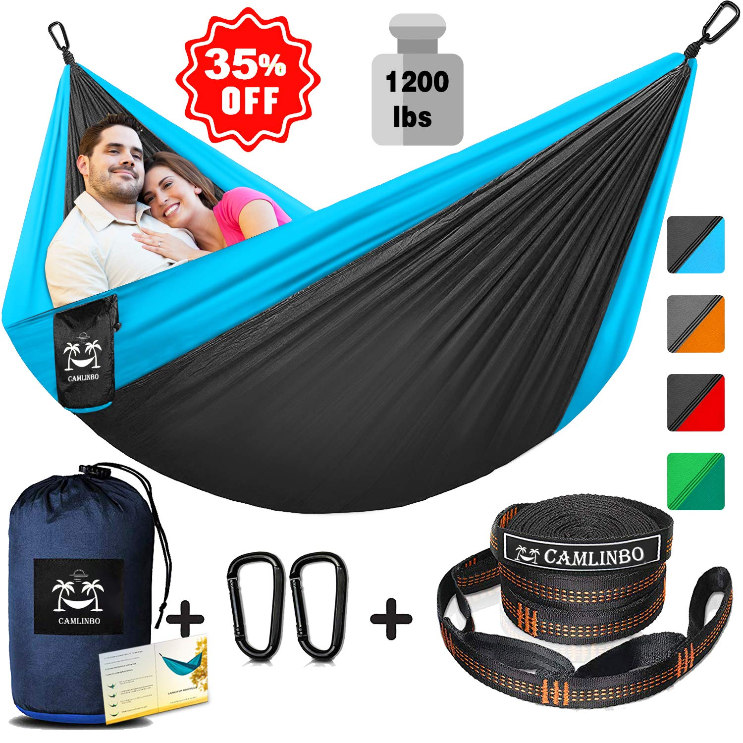 Camping Hammock for 2 Person Double Hammocks with Tree Straps & Steel Carabiners 118'' L x 78'' W Hold up 1200 lbs Backpacking Hammock Outdoor Hiking Portable Lightweight (Blue)