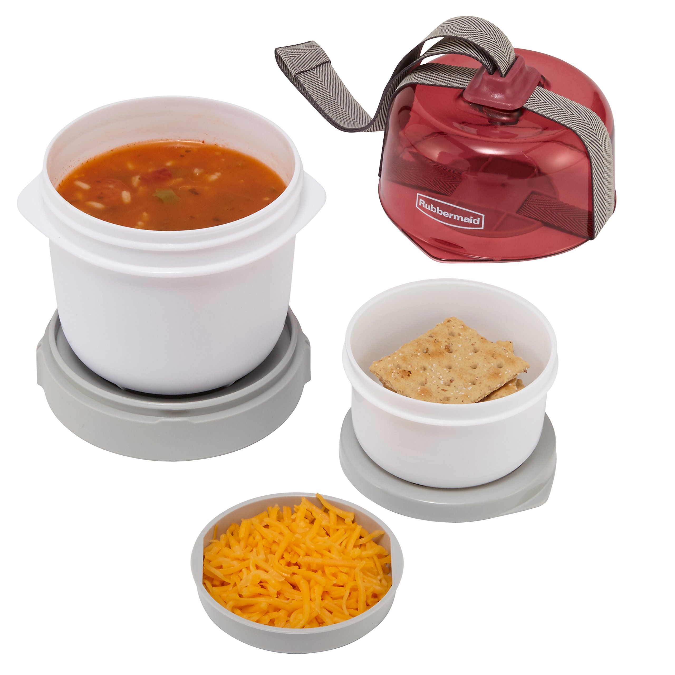 Rubbermaid Fasten + Go Soup Kit, Marsala, 3-Piece Set 1955739 by Rubbermaid