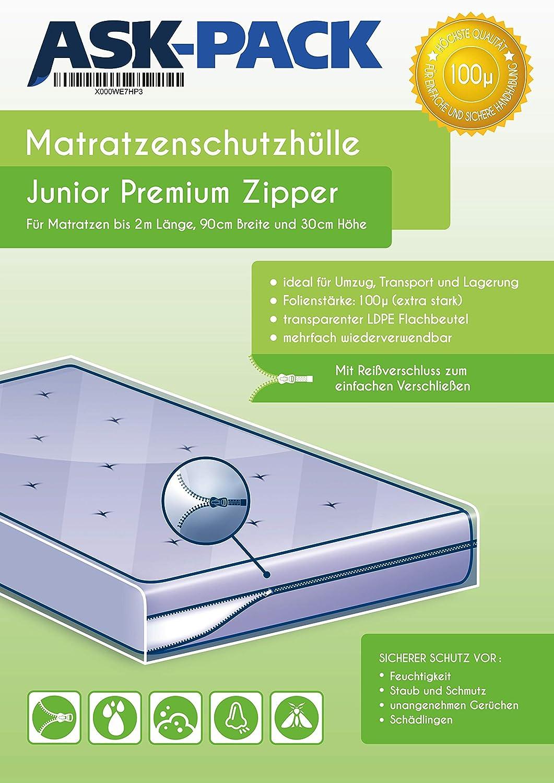 200 cm de Longueur Housse De Protection Matelas Junior Premium avec Fermeture /éclair pour Largeur 90 cm ASK Pack Nouveau 30 cm de Haut Extra Solide 100/µ