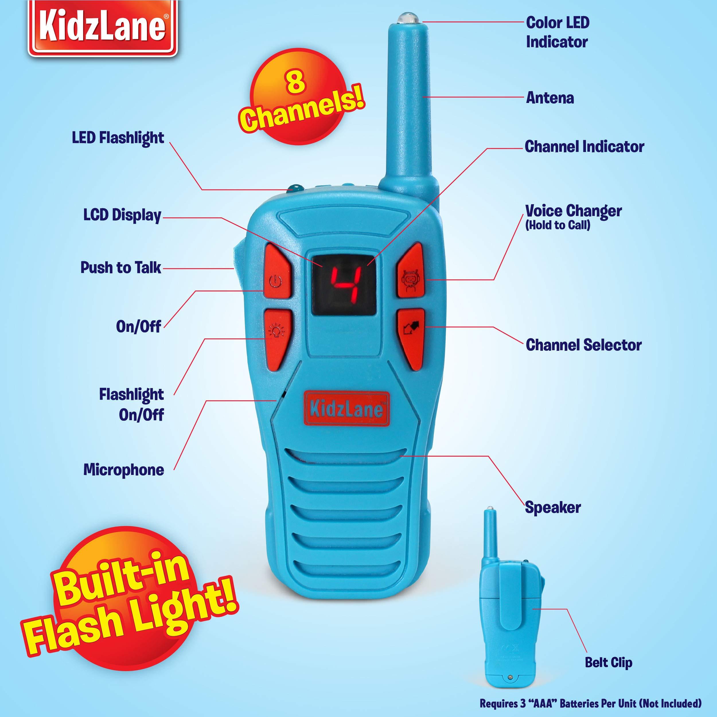 Kidzlane Voice Changing Walkie Talkies for Kids - 2 Mile Range, 8 Channels, Flashlight, & Call Alert by Kidzlane (Image #3)