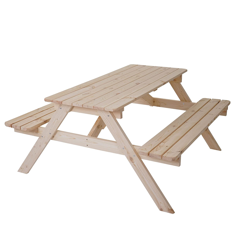 Mendler Biergarten-Garnitur Narvik, Picknick-Set, Holz Gastroqualität massiv 148x150cm