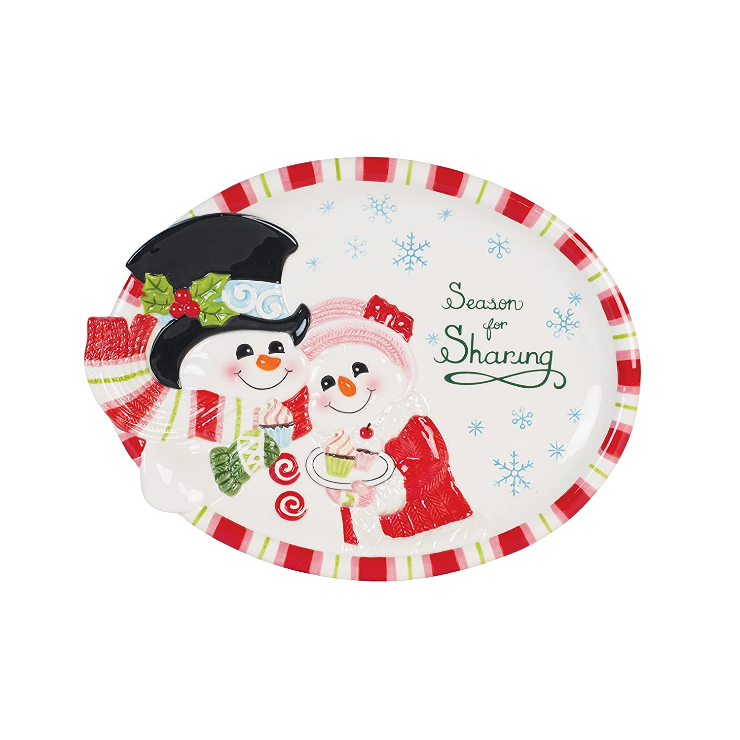 Snowm Couple Flurry Folk Cookie Platter 10.5 x 13.8