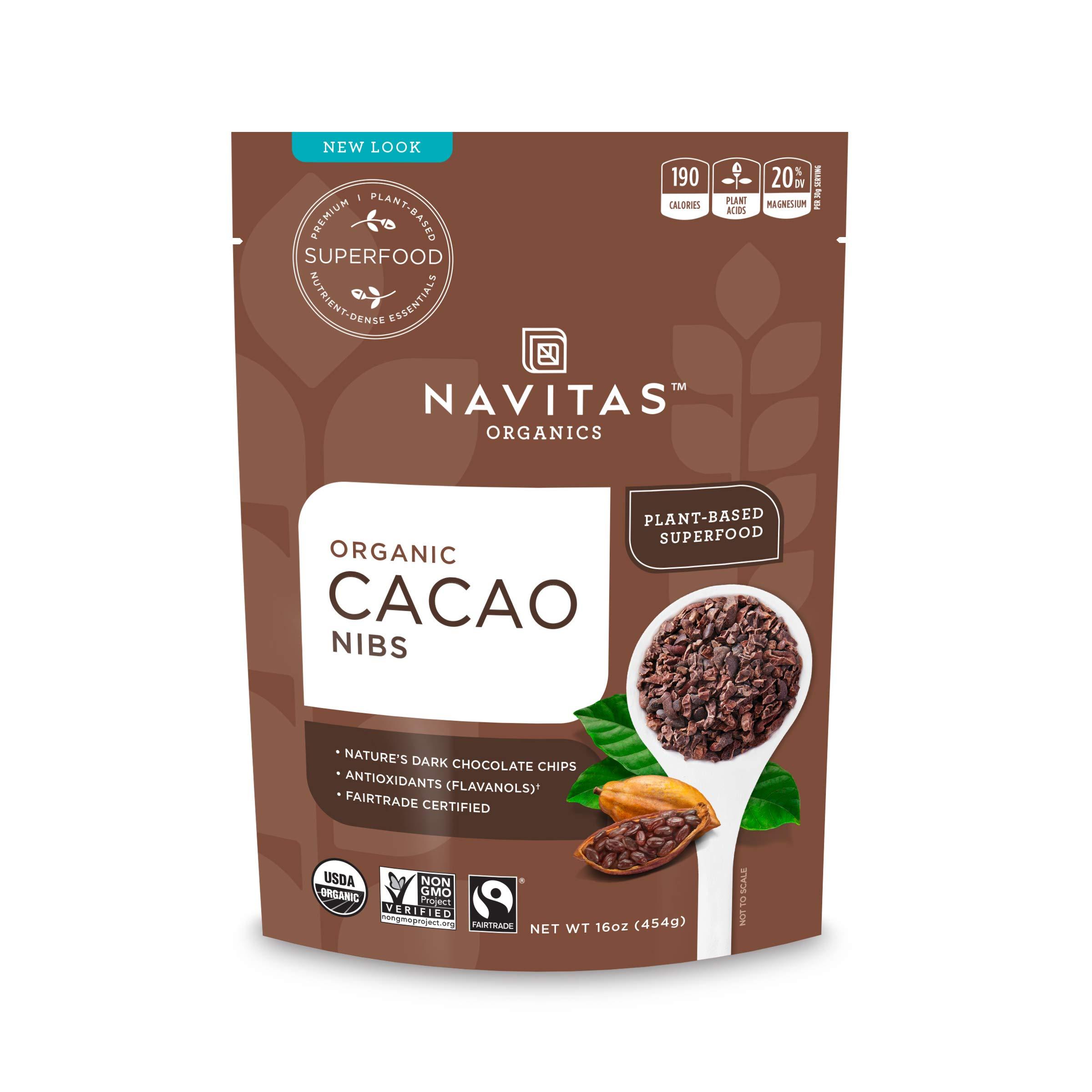 Navitas Organics Cacao Nibs, 16 oz. Bag — Organic, Non-GMO, Fair Trade, Gluten-Free