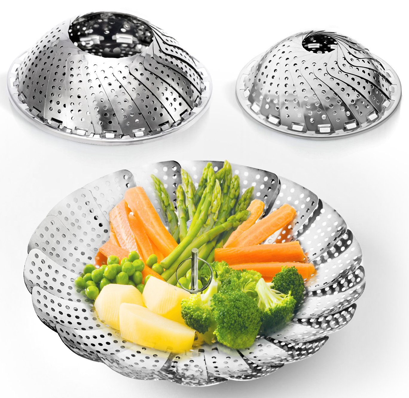 FOUR-PACK (2 Large and 2 Standard) Vegetable Steamer Baskets Set - 2x Steamer Inserts for Instant Pot + Safety Tool - 100% Stainless Steel - Instant Pot and Pressure Cooker Accessories