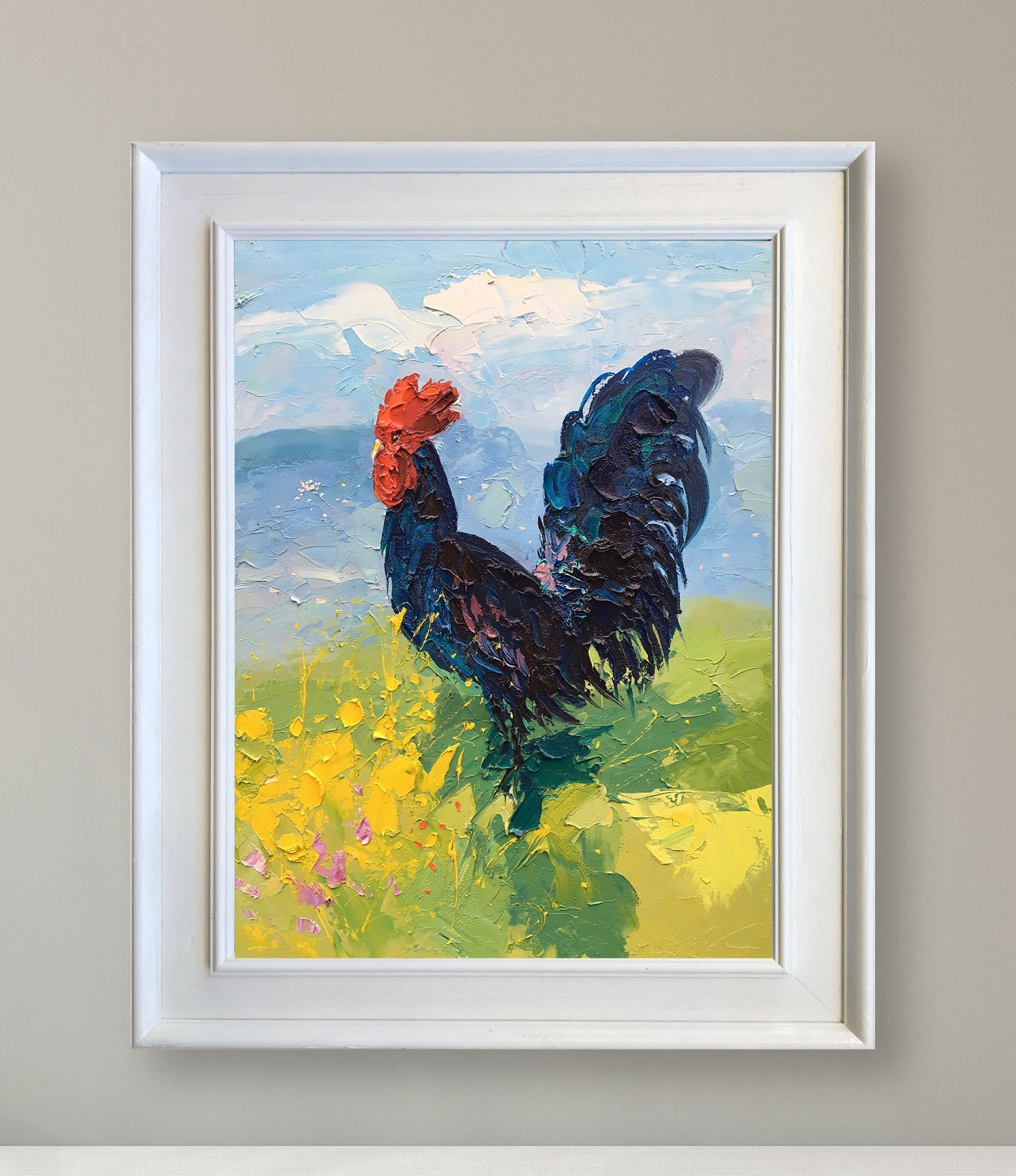 Impressionist Black Rooster Original Painting Chicken Portrait Farm Animal Art Country Cockerel Kitchen Decor for Wall Home Room Gift for Men Woman Trademark Fine Art Canvas by Agostino Veroni