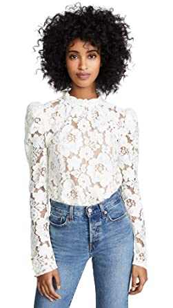 d78e9e95d6ee7 WAYF Women s Emma Puff Sleeve Lace Top at Amazon Women s Clothing store