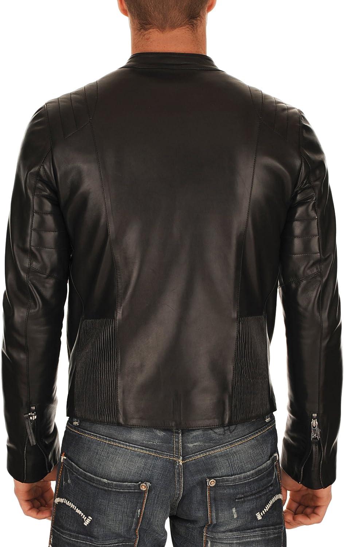 New Men Motorcycle Black Lambskin Leather Jacket Coat Size XS S M L XL X018