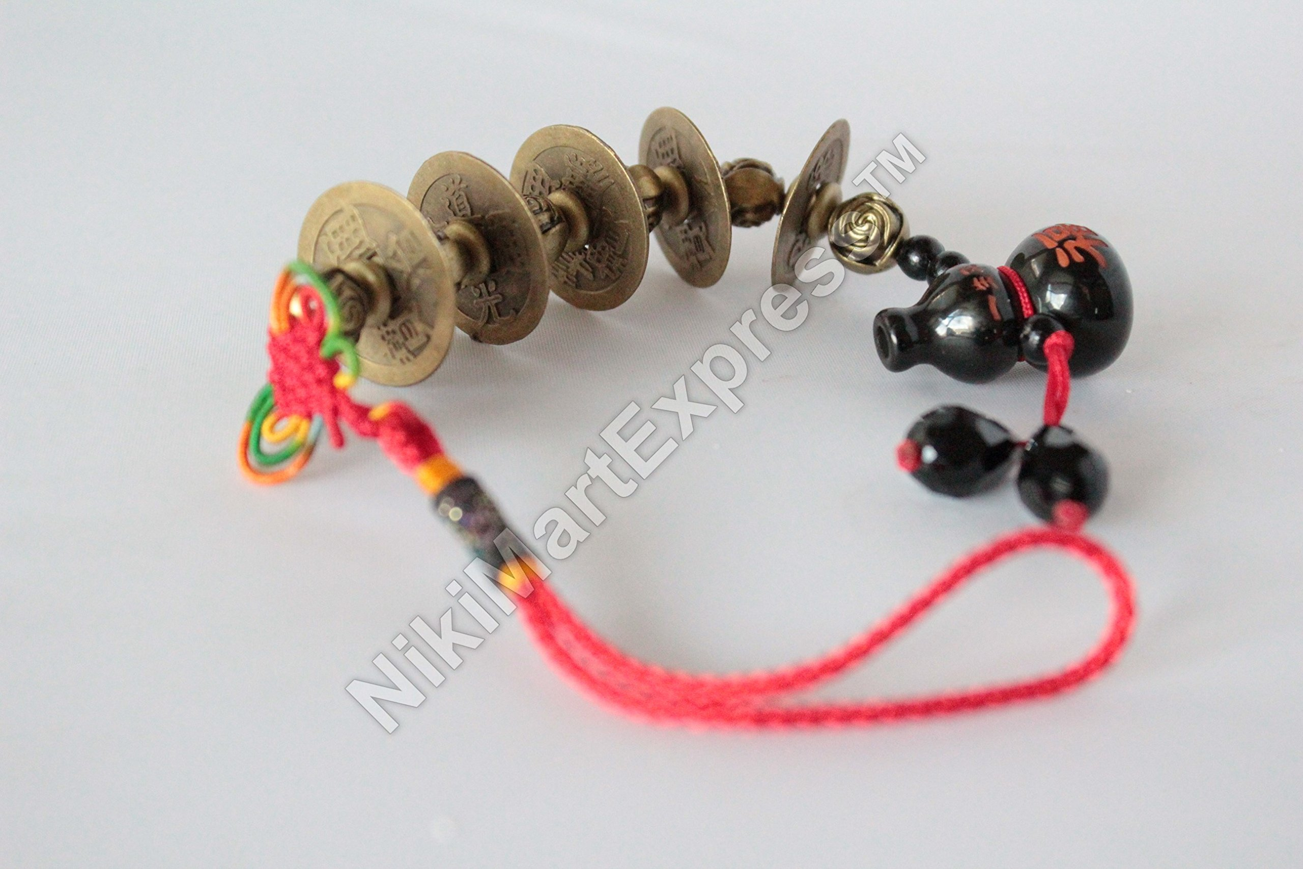 5 Emperor Coins with Obsidian Wu Lou | Hu Lu Gourd Feng Shui Lucky Protection Hanging Charm