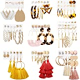 Earrings Set for Women Girls, Funtopia 62 Pairs Fashion Tassel Earrings Acrylic Hoop Stud Drop Dangle Earrings for Birthday Party Gift, Assorted Styles and Colors