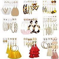 Earrings Set for Women Girls, Funtopia 61 Pairs Fashion Tassel Earrings Acrylic Hoop Stud Drop Dangle Earrings for…