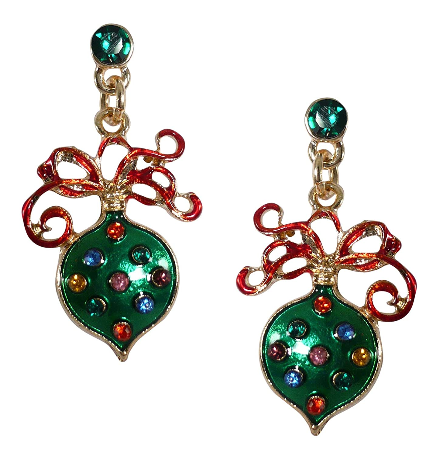 Bejeweled Christmas Green Ribboned Ornament CZ Post
