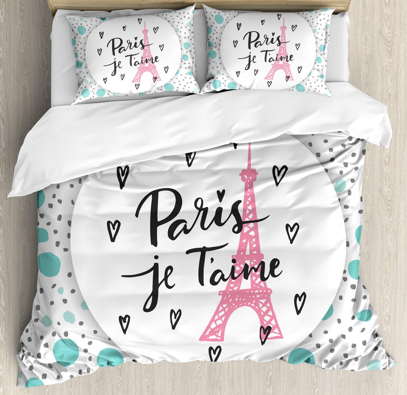 Paris City Decor King Size Duvet Cover Set by Ambesonne, Paris, I Love You Lettering Fashion Modern Background Europe Architecture Symbol, Decorative 3 Piece Bedding Set with 2 Pillow Shams