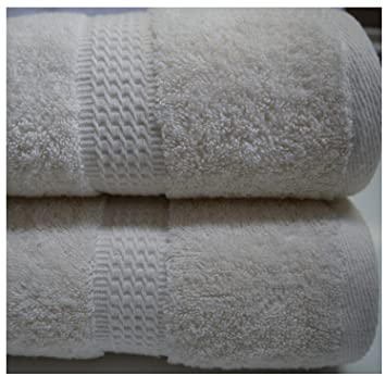 Crema-Lote de 2 toallas de baño 2 toallas de baño, 100 x 150 cm, 550 g/m²: Amazon.es: Hogar