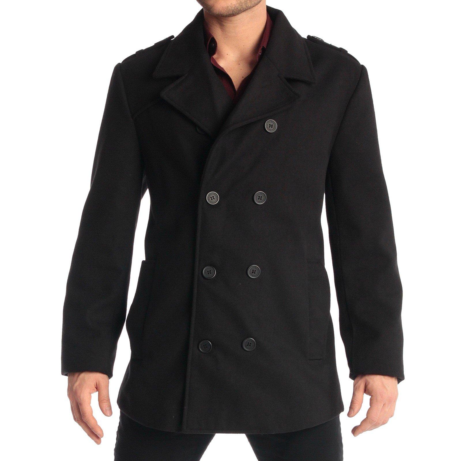alpine swiss Jake Mens Wool Pea Coat Double Breasted Jacket Black SML