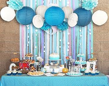 Kit completo de 20 Unids ideales decoraciones papel craft azules y blancos feliz cumpleaños sorpresa ¡¡diseños fiestas partys barbacoas aniversarios ...