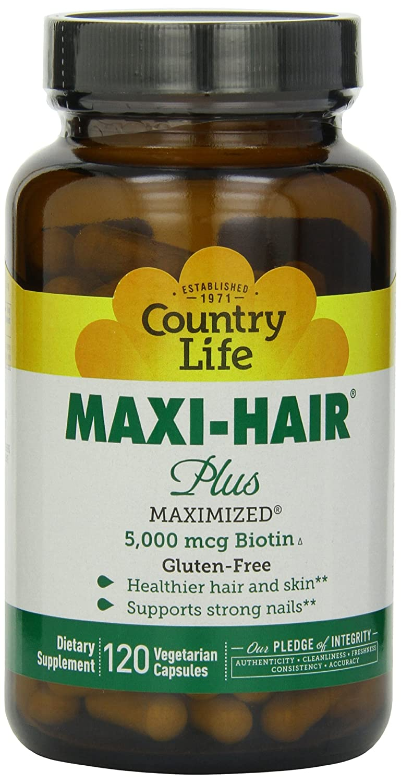 Amazon.com: Country Life Maxi Hair Plus 5,000 mcg Biotin 120 ...
