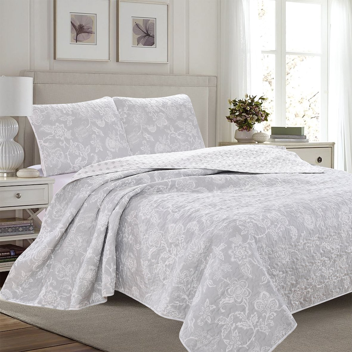 (Twin, Grey) 3-Piece Reversible Quilt Set with Shams. All-Season Bedspread with Floral Print Pattern in Contemporary Colours. Emma Collection By Great Bay Home Brand. (Twin, Grey) B07B5YSHTJ ツイン グレー グレー ツイン