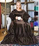 adults wearable blanket with sleeves arms soft cozy plush fleece wrap throws blanket. Black Bedroom Furniture Sets. Home Design Ideas