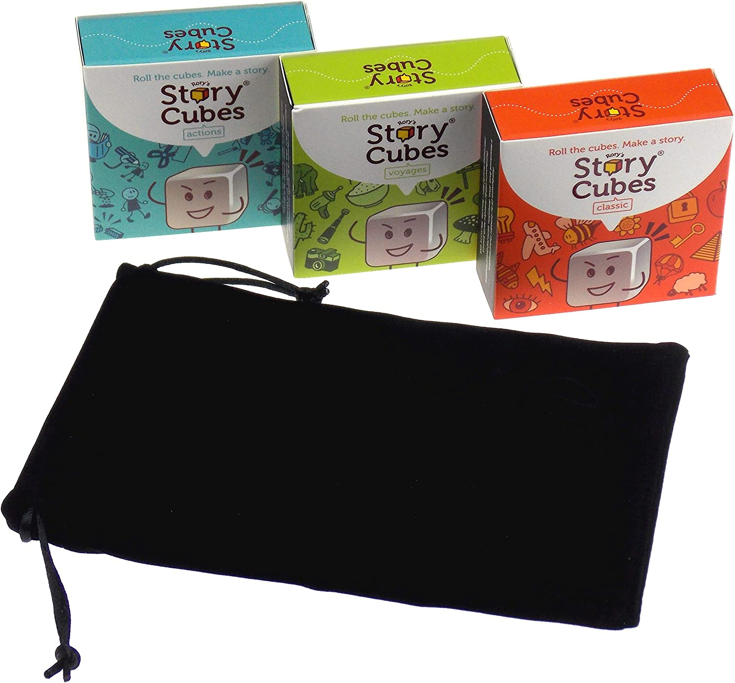 4 Items Actions Rorys Story Cubes Bundle Includes Rorys Story Cubes Classic Original Voyages /& Hickoryville Velour Drawstring Bag