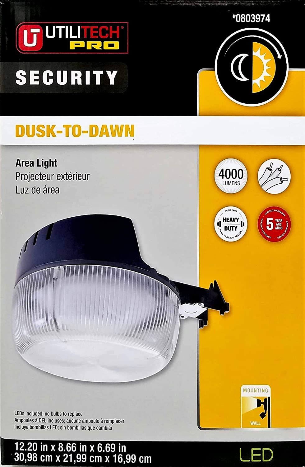 Utilitech Pro Dusk-to-Dawn Outdoor Security Area Light LED 4000 Lumens 48 Watts, 6301-PHO: Amazon.com: Industrial & Scientific