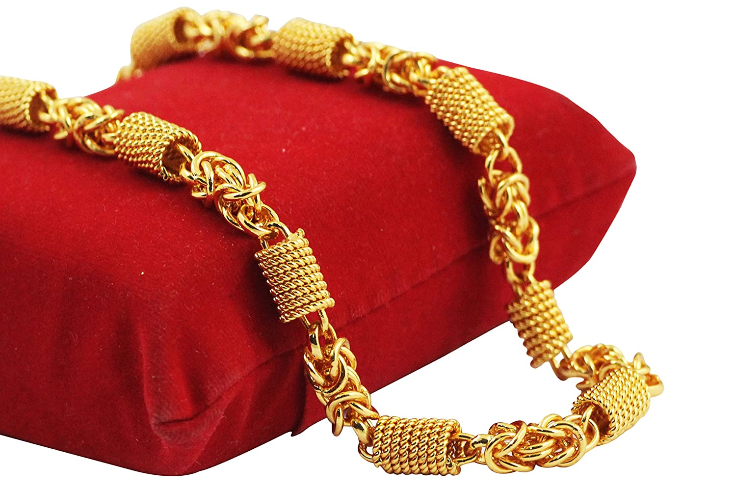 D/&D Crafts Gold Alloy Temple Ethnic Curb Chain for Girls Women