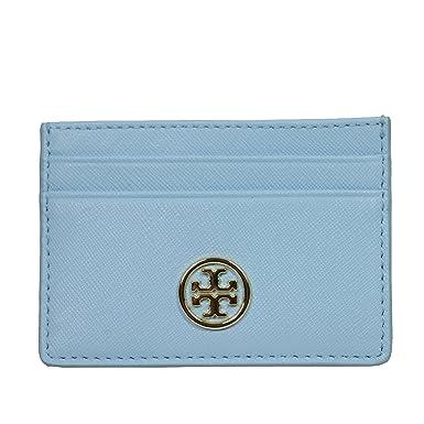 Tory Burch Robinson Slim Card Case Leather Rivera Blue At Amazon